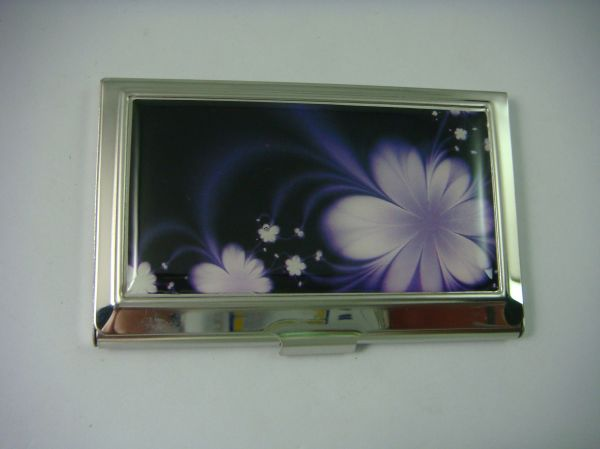 Slimline Silver Stainless Steel Business/Credit Card Case with Purple Flower Inlay