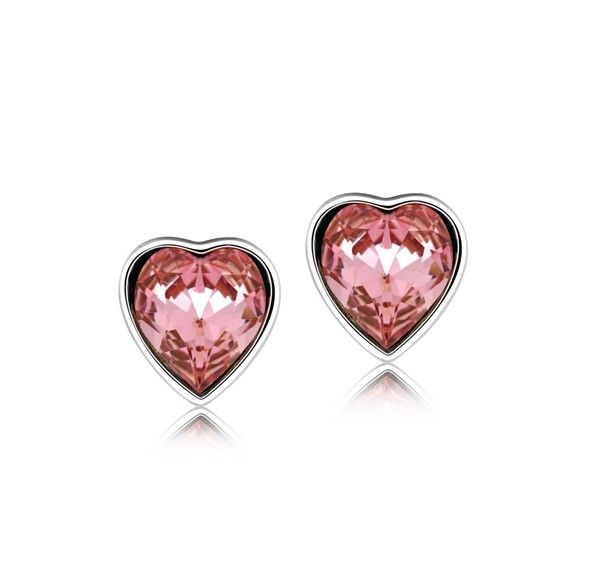 Pink Austrian Crystal Hearts set in 925 Sterling Silver Stud Earrings