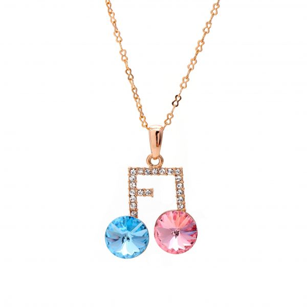 Musical Note Necklace with Pink and Blue Austrian Crystals