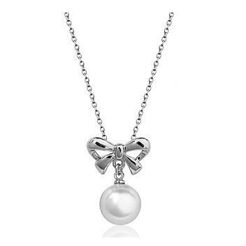 Pearl and 18k White Gold-Plated Bow Necklace