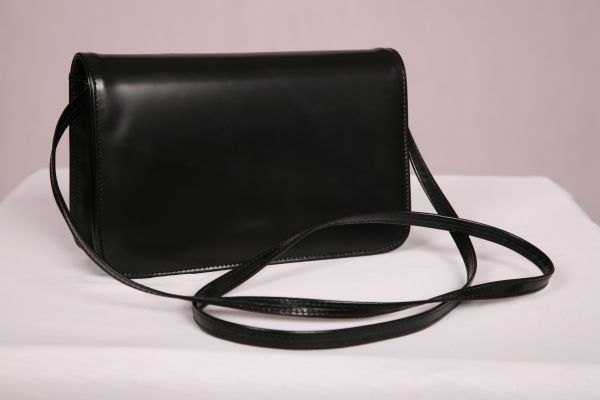 Black Hi-Shine Premium Leather Shoulder Bag