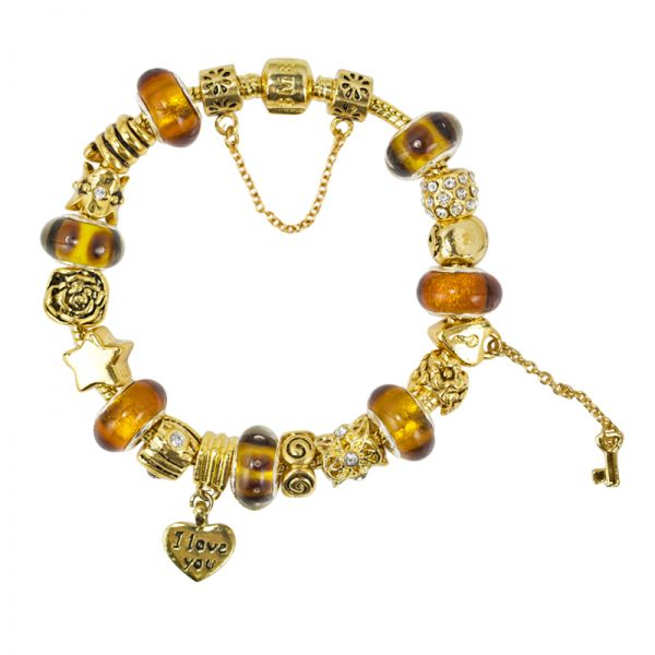 SME European Gold Charm Bead Bracelet with high quality Murano Glass Beads