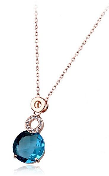 Teal Austrian Crystal 18k Rose Gold Pendant Necklace