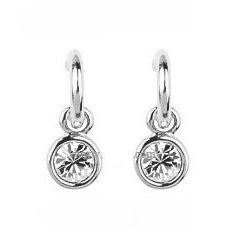 White Austrian Crystals set in 18k White Gold-Plated Circle Earrings