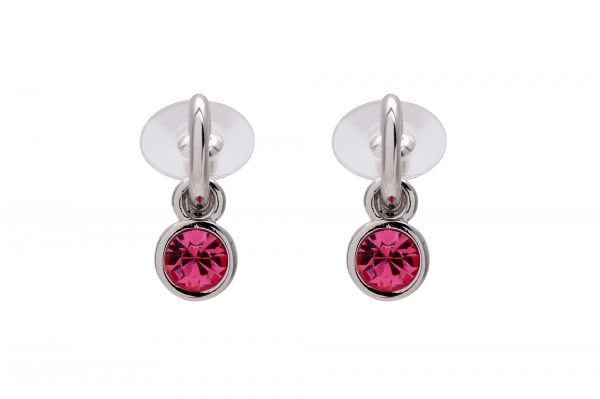 Rose Pink Austrian Crystals set in 18k White Gold Plated Circle Drop Earrings