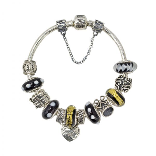 SME 925 Sterling Silver European Charm Bracelet with Black Murano Glass Beads