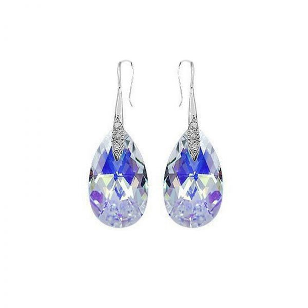 925 Sterling Silver Earrings with Clear Teardrop Austrian Crystals.