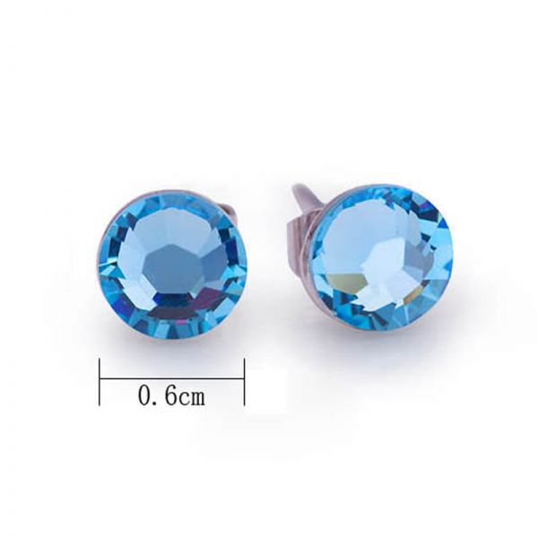 Round 6mm Blue Austrian Crystal Studs in 925 Sterling Silver