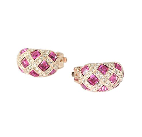 Rose PInk Austrian Crystals set in 18kRose Gold-Plated Clip On Earring