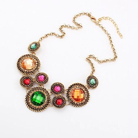 Multi-Colour Crystal European Vintage Style Necklace