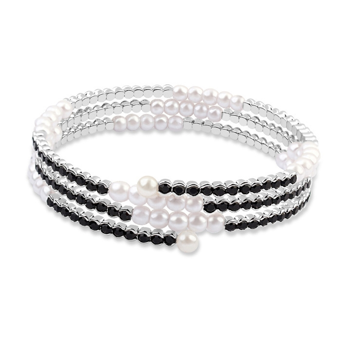 Black Austrian Crystals White Pearls 18k White Gold Wrap Bracelet