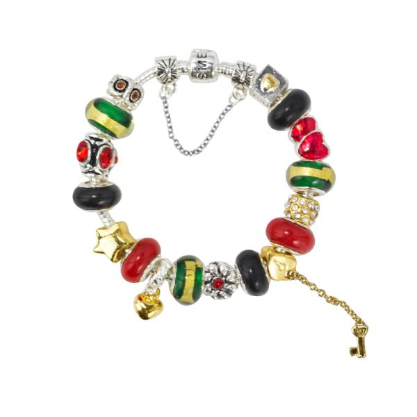 SME European Charm Bracelet with high quality Colourful Murano Glass Beads