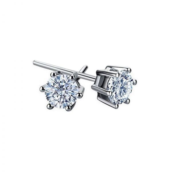 6mm White Austrian Crystals set in 925 Sterling Silver Stud Earrings