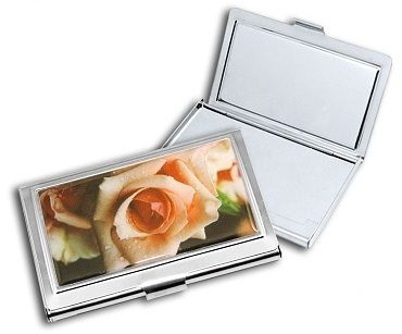 Slimline Silver Stainless Steel business/credit card case with rose inlay