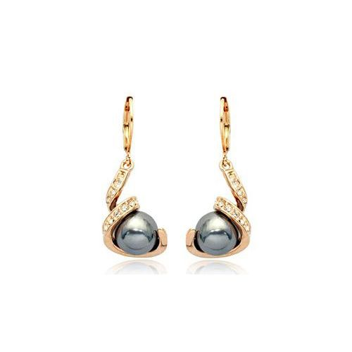 Black Pearl and Austrian Crystal 18k Rose Gold Earrings