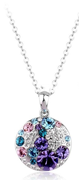 Blue Purple White Austrian Crystals 18k White Gold Necklace