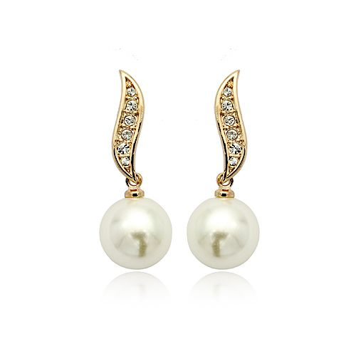 Pearl and White Austrian Crystals 18k Rose Gold-Plated Pierced Earrings