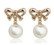 Pearl and 18k Rose Gold-Plated Bow Pierced Earrings