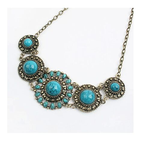 Turquoise Sunflower European Vintage Style Necklace